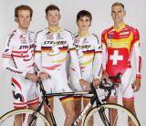 Das STEVENS Cyclocross-Team v.l.n.r.: Peter Presslauer - Österr. Meister, Malte Urban - DM, Paul Voss - DM, Christian Heule - Schweizer Meister