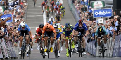 Tim Merlier (far left) sprinting on the second stage of the Tour of Belgium